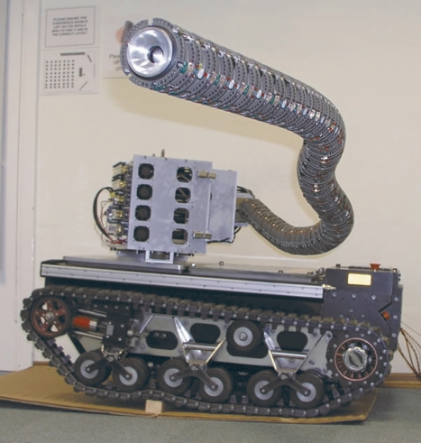 OC Robotics' snake arm robot consists of a number of independent segments that can be controlled in a co-ordinated way, enabling a user to guide the snake so that the body follows the head's exact path.