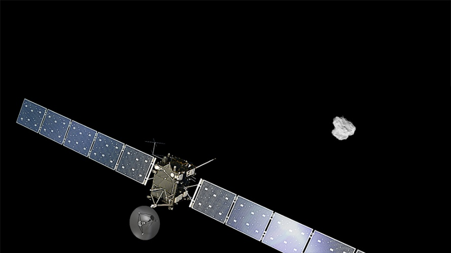 An artist's impression of ESA's Rosetta approaching comet 67P/Churyumov-Gerasimenko