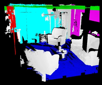 When inside the structure, the robot takes multiple scans using LIDAR that takes up to 500,000 point measurements per second. In this 3D map the floor is identified by blue, the ceiling by green and the vertical walls by red, cyan and magenta.