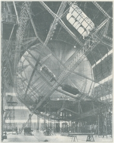 The ill-fated government airship R101 under construction at the Royal Airship Works, Cardington