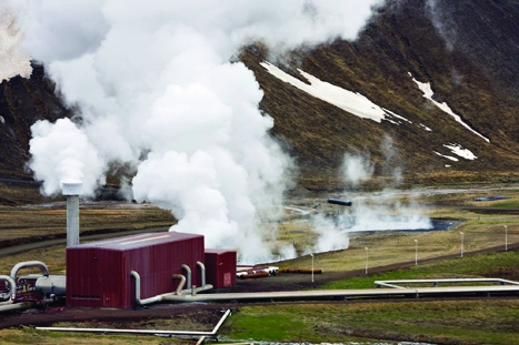 Letting off steam: volcanoes such as Krafla in Iceland are used to produce energy
