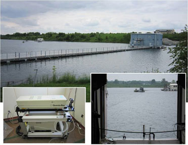 Housed in a floating structure, the Nd:YAG laser (bottom left) generates underwater acoustic pulses, which travel to a distant hydrophone equipped boat (bottom right)