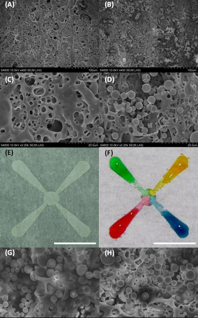 Coloured water is used to show how liquid wicks along tiny channels formed in paper using a laser. Silica microparticles were deposited on patterned areas, allowing liquid to diffuse from one end of a channel to the other