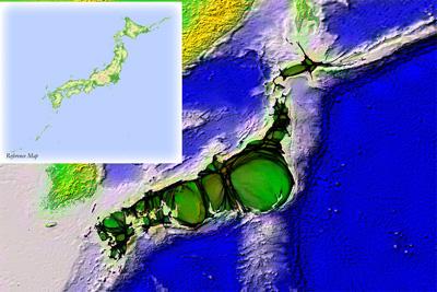 Population cartogram for Japan