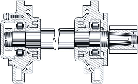 Traction motor design complete with cylindrical roller bearings