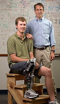 Prof Michael Goldfarb, right, with amputee Craig Hutto who is wearing the new bionic leg developed at Vanderbilt. (John Russell, Vanderbilt University)