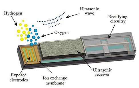 This diagram shows the design of a miniature device that can be implanted in tumors to generate oxygen, boosting the killing power of radiation and chemotherapy. (Birck Nanotechnology Center, Purdue University)