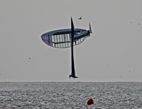 The Vestas SailRocket Mark I flips shortly after recording record speeds