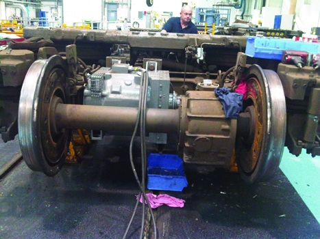 38 40 Bogie and traction motor under test at Southampton