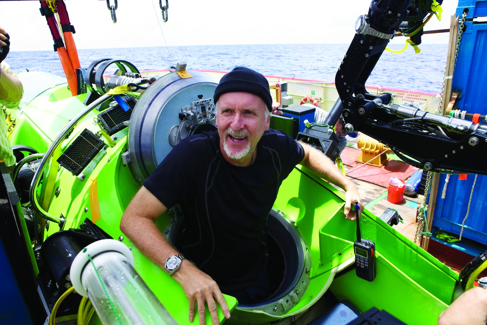 James Cameron emerges from the DEEPSEA CHALLENGER submersible after his successful solo dive to the Mariana Trench, the deepest part of the ocean.