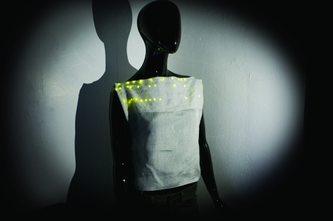 The Nottingham team has demonstrated a vest made from an electronic yarn with LEDs