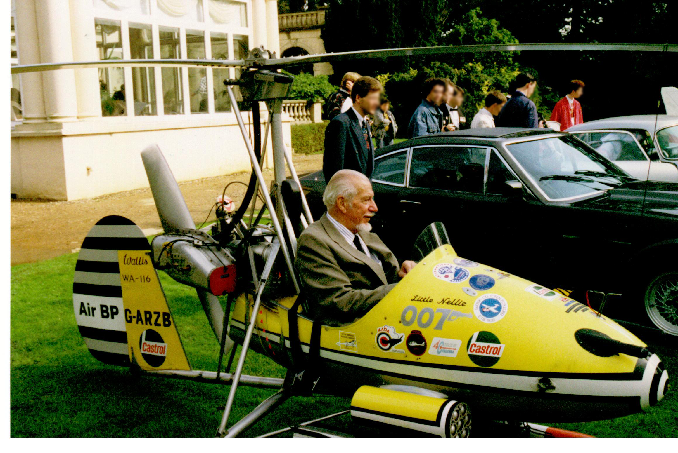 Ken Wallis pictured in the Little Nellie Autogyro, which appeared in the James Bond movie You only live twice