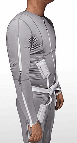 Side view of the Mollii garment for improving range of motion and reduce pain as a result of brain injury or neurological disorders