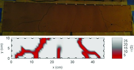 The 'sensing skin' technology detects cracks in concrete (as in top image) and reports when and where the damage took place (as in bottom image)