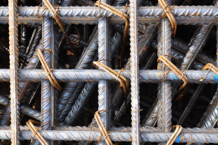 A closeup of the reinforcing bars
