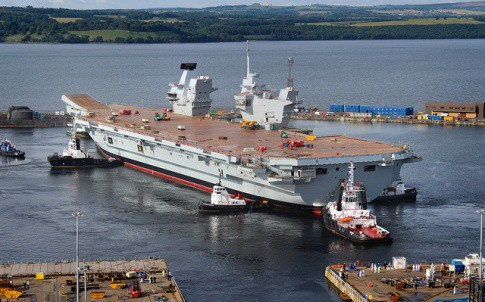 The HMS Queen Elizabeth float out took place in July 2014
