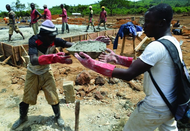An Ebola Treatment Unit under construction in Kerry Town, Sierra Leone