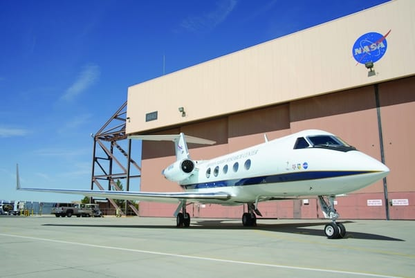 This modified Gulfstream III is the test bed aircraft for the ACTE flexible-flap research project