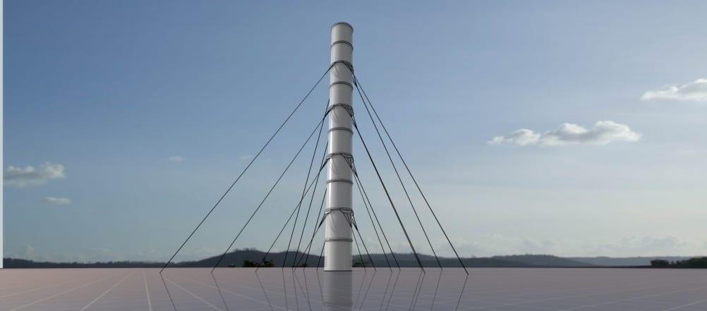 Artist's impress of a suspended solar chimney