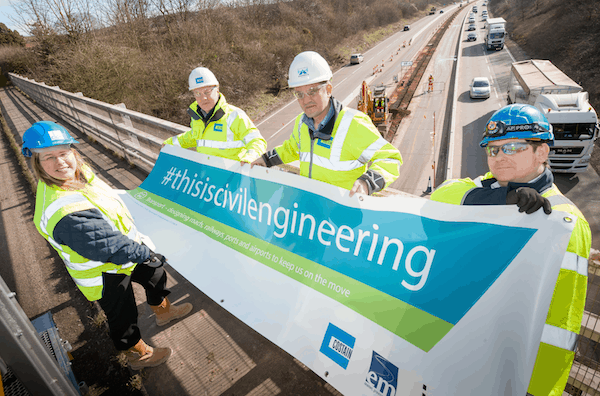 Banner launch on M54 over-bridge near Shifnal, Telford left to right: Mark Blackburn , General Foreman – Costain, Andy Wilson, Stakeholder Liaison Manager - EM Highways, Tony Lewis, Project Manager – Costain, Yvonne Aust , Chair - ICE Shropshire Branch