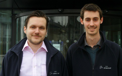 Valdis Krumins, left, and Sam Hyde, from the Advanced Manufacturing Research Centre's Design and Prototyping Group, who have won a top innovation award after radically rethinking the way spacecraft valves work
