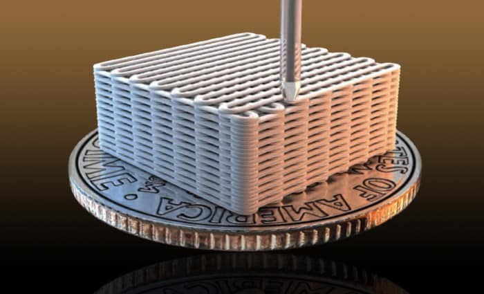 Lawrence Livermore researchers have made graphene aerogel microlattices with an engineered architecture via a 3D printing technique known as direct ink writing.