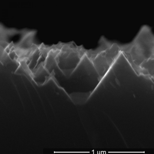 An electron microscope image from earlier research shows the nanoscale spikes that make up the surface of black silicon used in solar cells
