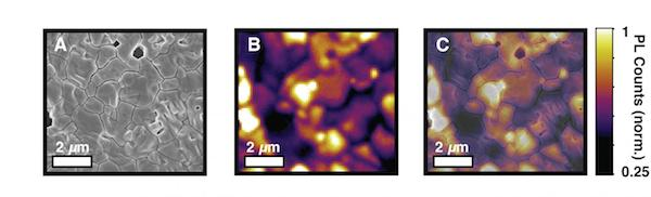 UW researchers used microscopy to identify inefficient regions in perovskite materials used in solar cells, as evidenced by dark areas in C