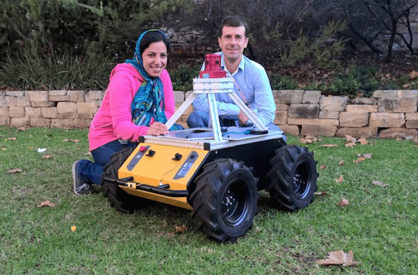 University of Adelaide Ph.D. student Zahra Bagheri and supervisor Professor Benjamin Cazzolato (School of Mechanical Engineering) with the robot under development. The robot features a vision system using algorithms based on insect vision