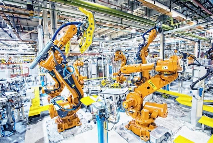 Robots at work in JLR's Halewood plant