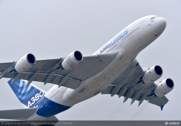 An Airbus A380 at the Paris Air Show.