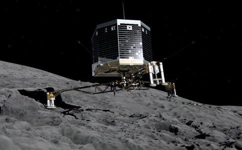 Still image from animation of Philae separating from Rosetta and descending to the surface of comet 67P/Churyumov-Gerasimenko.