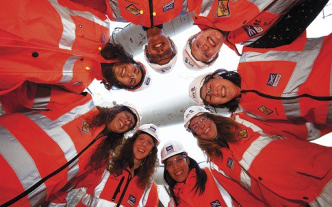 Project Manager Nisrine Chartouny with some of the women constructing the new Crossrail Farringdon Station