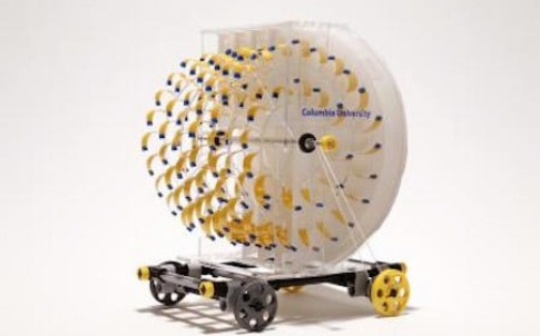 Eva, the first evaporation-powered car, has a turbine engine that rotates as water evaporates from the wet paper lining the walls of the engine