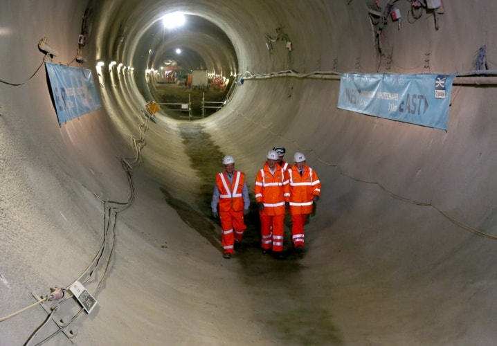 PM David Cameron and London Mayor Boris Johnson survey the completed tunnels