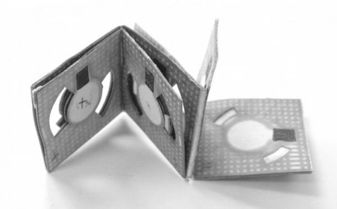 Origami batteries like this one, developed by Binghamton University researcher Seokheun Choi, could one day power biosensors for use in remote locations