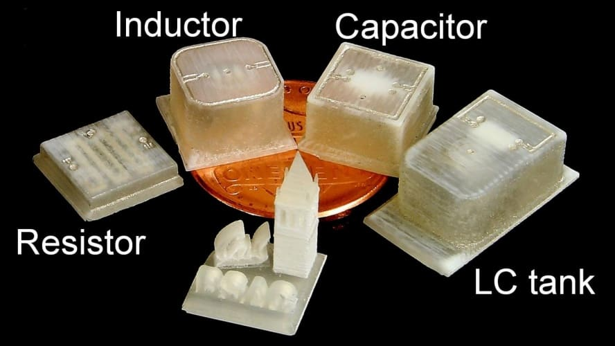 Engineers created a range of 3-D-printed electrical components, including an electrical resistor, inductor, capacitor and an integrated inductor-capacitor system