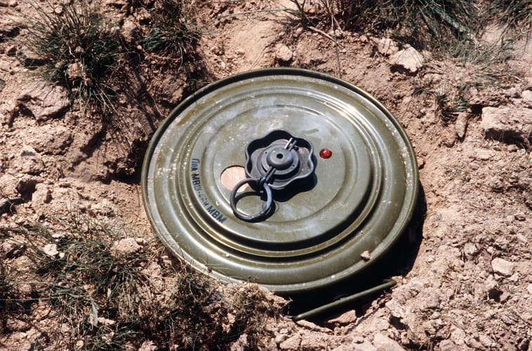 Newer landmines tend to be made of plastic rather than metal, like the one pictured.