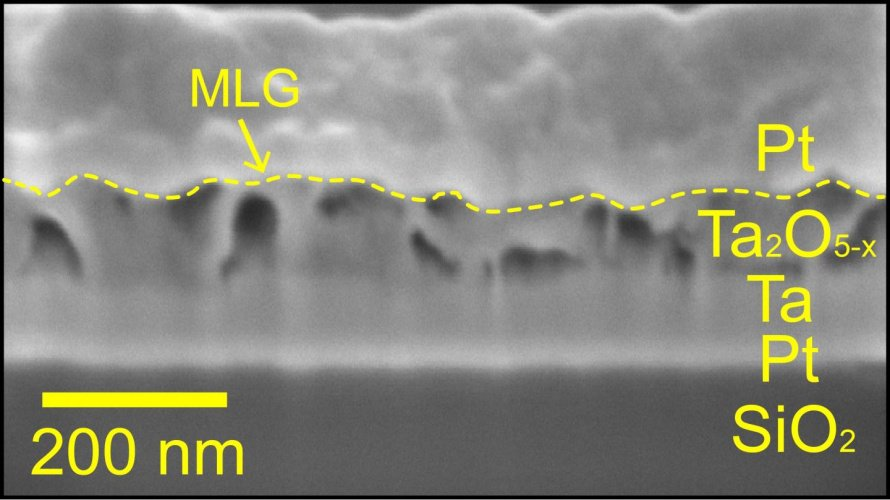 Electron microscope image of the memory device.