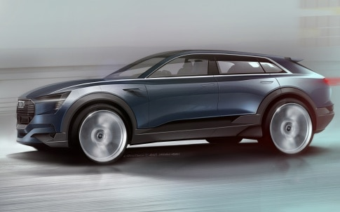 The Audi e-tron quattro will motor into the IAA at Frankfurt next month with a potential driving range of more than 310 miles