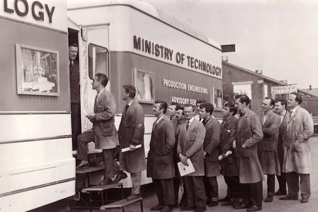 Engineers boarding the mobile cinema in the 1960s