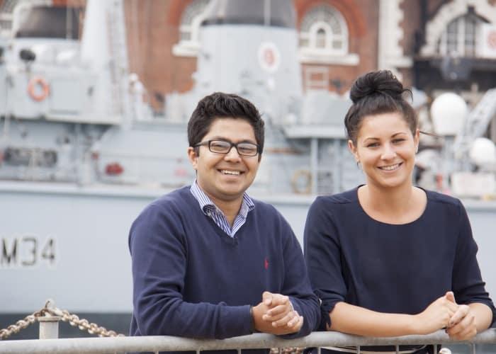 Summer Interns Rez Nuru and Alex Rubin working in Portsmouth Naval Base.