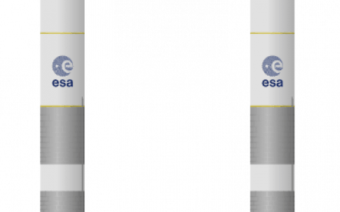 Both variants of Ariane 6: with two (left) and four (right) solid rocket boosters.