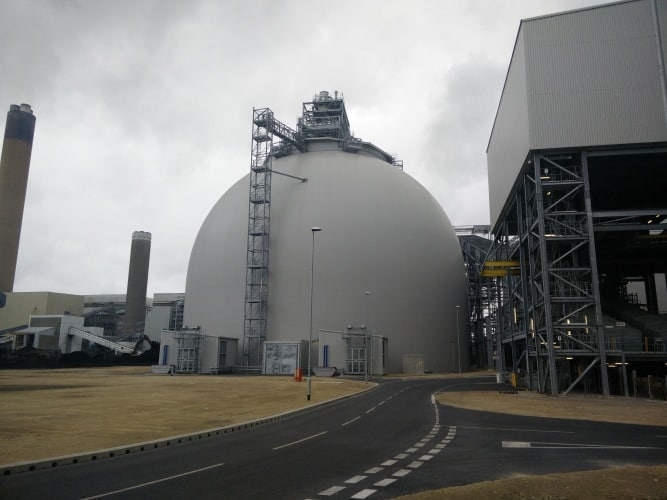 One of the four massive biomass silos at Drax