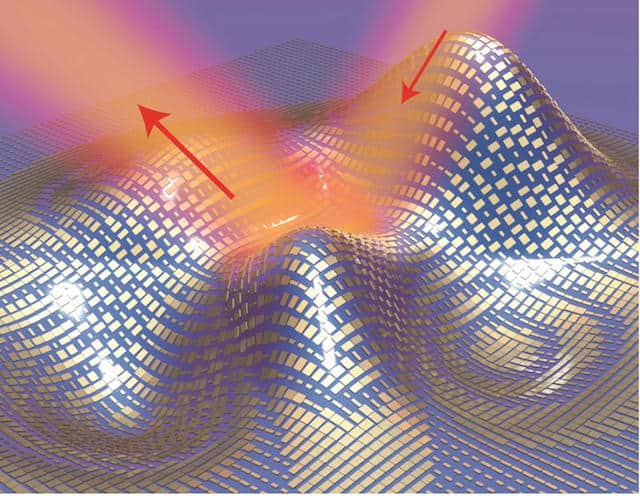 3D illustration of a metasurface skin cloak made from an ultrathin layer of nanoantennas (gold blocks) covering an arbitrarily shaped object. Light reflects off the cloak (red arrows) as if it were reflecting off a flat mirror