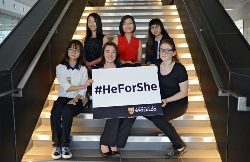 The 2015 University of Waterloo HeForShe IMPACT Scholarship recipients. Top row (left to right): Anqi Yang, Jenny Ma, Sally Muth. Bottom row (left to right): Zhuo Yu, Anya Forestell, Sarah Muth.