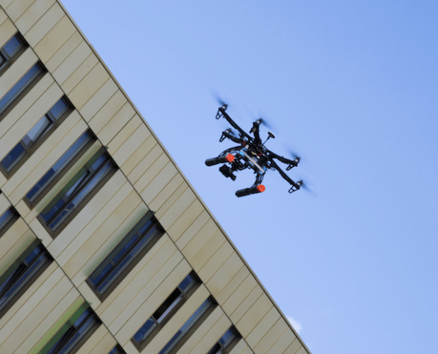 Drone flies over The Core, Science Central, Newcastle