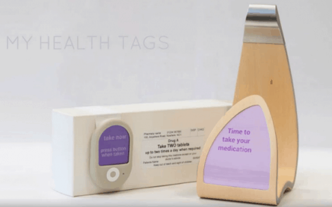 My Health Tags consists of a reminder device with a display, which tells people it is time for their medication, and sensor tags fitted to each packet that register when the drug has been taken