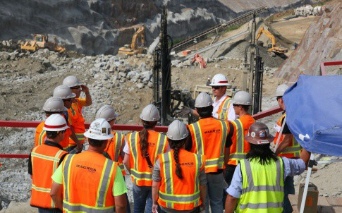Construction and engineering students visiting a work site.