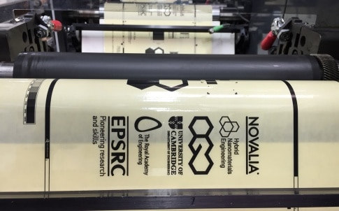 Graphene ink being roll-to-roll printed.
